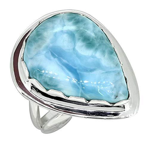 YoTreasure Pear Shape Natural Larimar Ring Solid 925 Sterling Silver