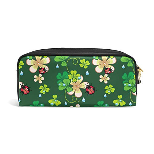 Linomo Pencil Bag Green St Patrick's Day Shamrock Zipper Leather Pencil Case Pen Bag Pouch Holder Small Cosmetic Brush Makeup Bag for Travel Office School