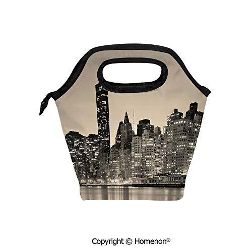 Insulated Neoprene Soft Lunch Bag Tote Handbag lunchbox,3d prited with Manhattan Skyline at Night East River Panoramic Famous City Urban Life in USA,For School work Office Kids Lunch Box & Food Conta