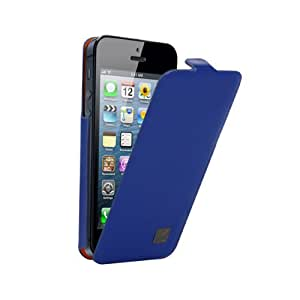 "Kenzo LEATHER FLIP CASE METAL PLATE ""K"" BLUE für Apple iPhone 5"