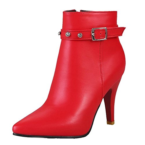 With Working Boots Match For Red Ankle Smilice Kitten Women Heel Boots Women and Toe Pointed Fashion All CqBEtx