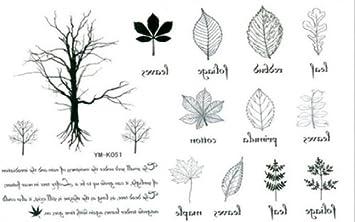 Amazon Com Tattoo Stickers Waterproof The English Small Trees Leaf