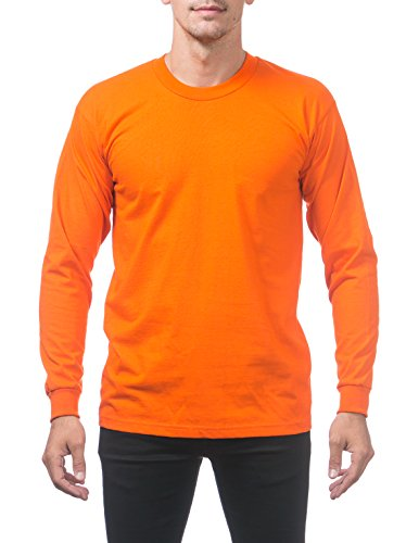 - Pro Club Men's Heavyweight Cotton Long Sleeve Crew Neck T-Shirt, Small, Orange Tangerine