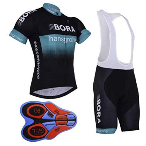 mer Unisex Cycling Jersey Set Bib Shorts Bamboo Fiber Cycling Jersey-Blue&Black-L ()