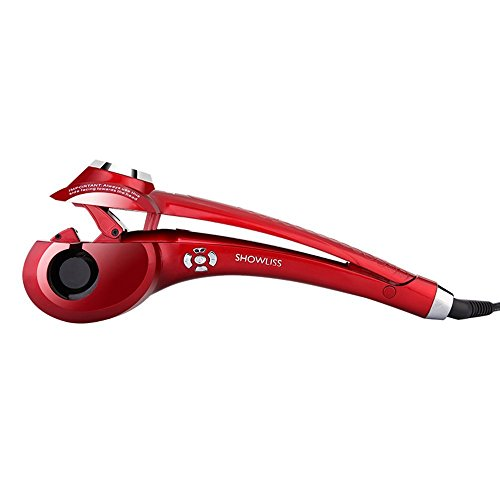 KanCai Professional LCD Display Steamer Curl Magic Ceramic Curling Iron Automatic Hair Curler with Hair Styling Tool (Red)