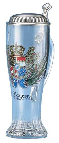 Bavarian Crest Glass Beer Stein w/Pewter Lid German Bavarian Crest Pilsner Limited Edition