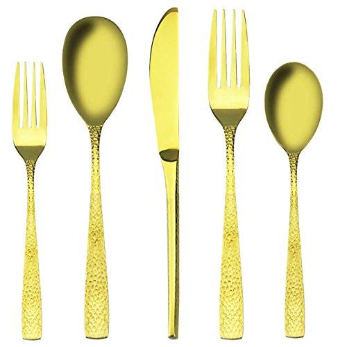 5 Piece Tea Service (Flatware 18/10, 5 pieces Royal Honeycomb Handle Design 18/10 Stainless Steel Silverware Flatware Sets,Service for 1)