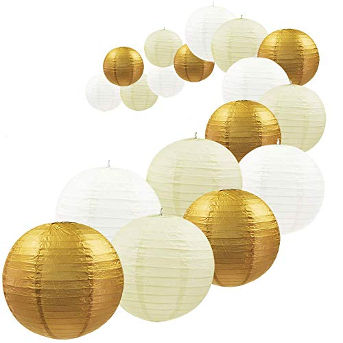 Gold Paper Lanterns (UNIQOOO 18Pcs Gold Foil Paper Lantern Set,5 Size Mix,Reusable Hanging Decorative Japanese Chinese Paper Lanterns Lamps,Easy Assembly,For Birthday Wedding Baby Shower Christmas Party Decor Supplies)