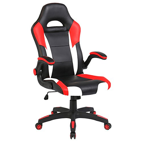 - SEATZONE Racing Car Style Bucket Seat Gaming Chair, Curved High-Back Executive Swivel Office Leather Chair, Adjustable Computer Chair with Flip-Up Armrest (RedWhite)