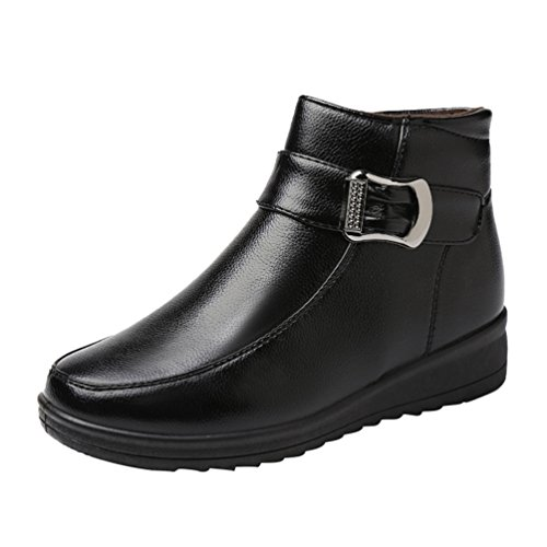 CHENGYANG Damen Schneestiefel Winter Warmer Outdoor Stiefel Faux-Pelz Gefütterte Fläche Schuhe Schwarz#2