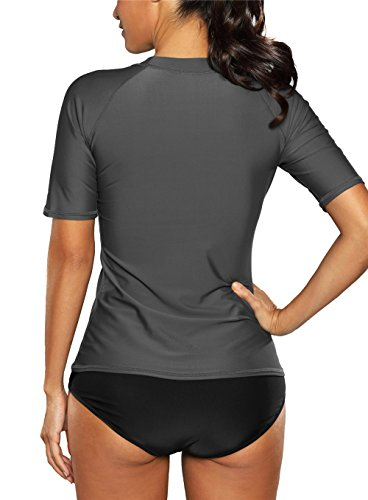 Vegatos Womens Short Sleeve Rashguard Swimwear Rash Guard Athletic Tops Rash Guard Swim,XX-Large,Grey by Vegatos (Image #1)