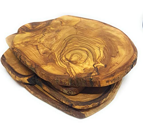 Olive Wood Coasters 100% Natural & Organic - Set of 4 - Handmade - With a Special Gift Box - Olive Tree Wood