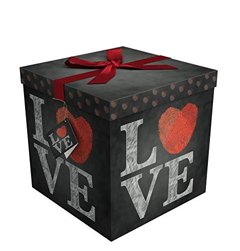 EndlessArtUS Gift Box 9x9x9 Amrita Love Pop up in Seconds Comes with Decorative Ribbon Mounted on The lid A Gift Tag and Tissue Paper - No Glue or Tape Required