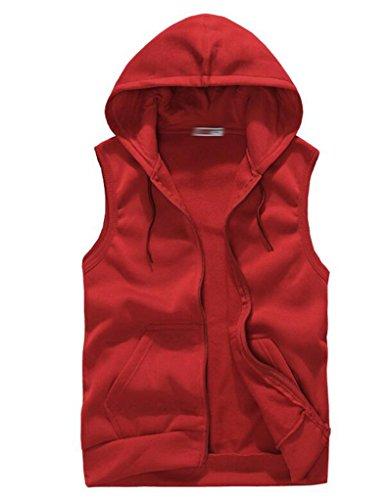 SoEnvy Mens Casual Sleeveless Sport Hoodie Zip Up Vest M Red