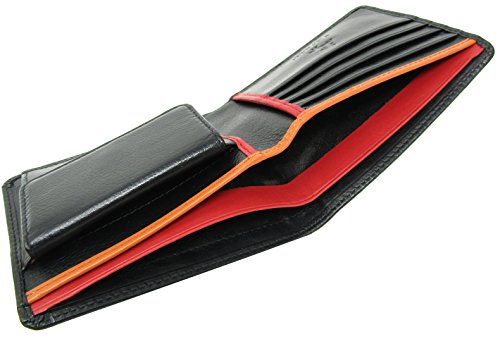 Visconti Leather Black Wallet Mens RFID Colour Slim Line Red Red Bond BD10 Black Multi Blocking Quality rft1rwq