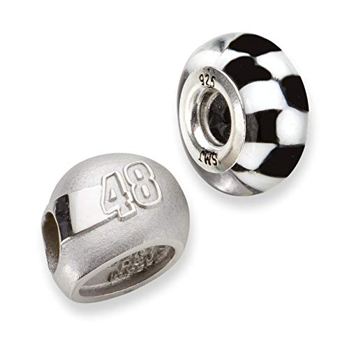 Bonyak Jewelry SS LogoArt NASCAR #48 Jimmie Johnson Glass Helmet Bead Set in Sterling Silver