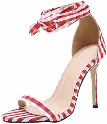 1841d11b877 Women s Sandals Dress Pumps Starlet Heeled Sandal Roman Lace-up Sturdy High  Heel