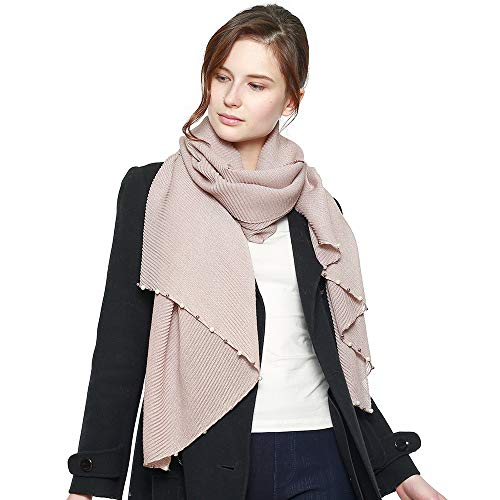 Women's Modern Pleated Soft Metallic Accent Scarf with Pearl Embellishments (Pink w/Pearl)
