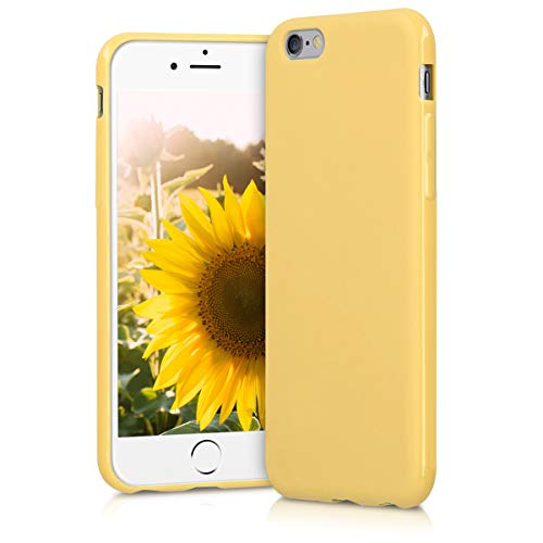 kwmobile TPU Silicone Case for Apple iPhone 6 / 6S - Soft Flexible Shock Absorbent Protective Phone Cover - Yellow Matte