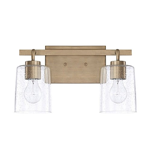 (Capital Lighting 128521AD-449 Homeplace/Greyson - Two Light Bath Vanity, Aged Brass Finish with Clear Seeded Glass )