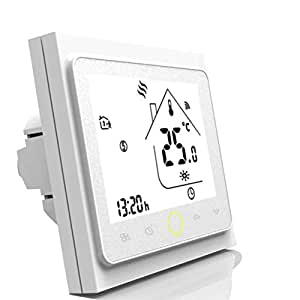 Smart WiFi Thermostat,WiFi Programmable Water Thermostat LCD Display Temperature Controller Compatible with Alexa, Google Home, IFTTT, 5A