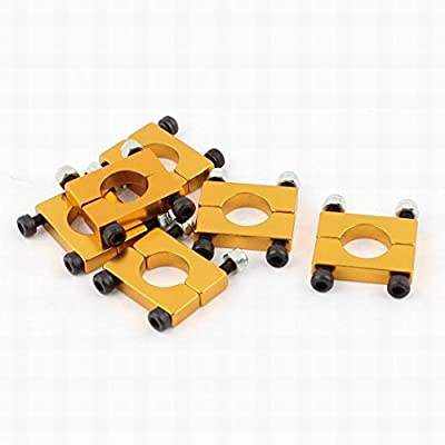Ucland 6Pcs 12mm Airplane Tube Clip for Carbon Fiber Quad copter Golden