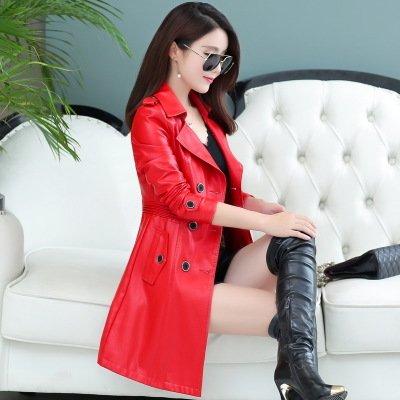 The Women'S Wind Xuanku Garments Long red San Jacket In Foutune Thin Leather Jacket Sau 1EAqw50w