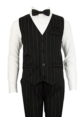 Vittorino Boys 4 Piece Holiday Suit Set with Vest Dress Shirt Tie Pants and Hankerchief,Formal Black/ White/Red,16 (Husky Suit Jacket)