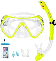 Supertrip Snorkel Set Adults-Anti-Fog Film Scuba Snorkeling Diving Mask with Impact Resistant Temperred Glass 