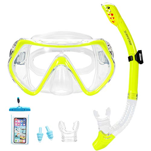 Supertrip Snorkel Set Adults-Scuba Snorkeling Diving Mask with Impact Resistant Anti-Fog Temperred Glass|Dry Top Snorkel,2 Mouthpieces 1 Waterproof Case Included Yellow