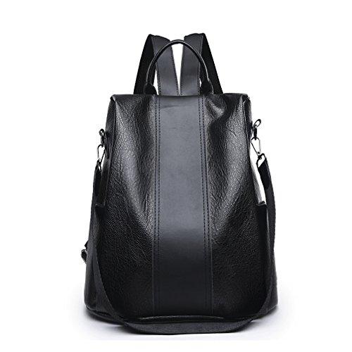imperméable grand femme cuir de Marron Fanshu PU sac dos Noir2 en à Cartable Élégant qngn87YH