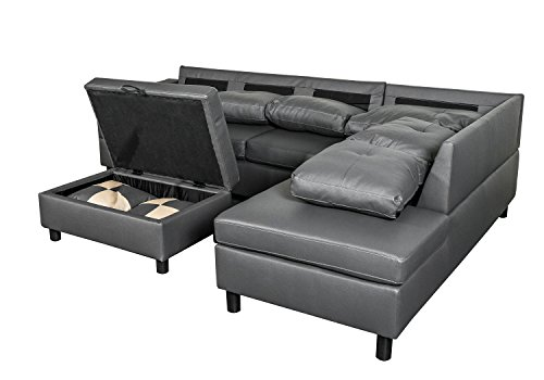 Legend 3 Piece Faux Leather Left-Facing Sectional Sofa Set with Free Storage Ottoman, Dark Gray