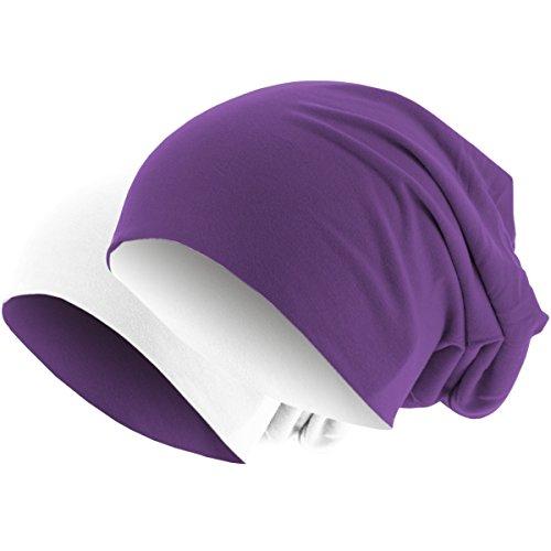 en en de 2 Colores blanco 1 Gorro punto 2 48 púrpura Gorro 1 invierno Slouch Largo Gorro Reversible de en qwvY0xn7gA