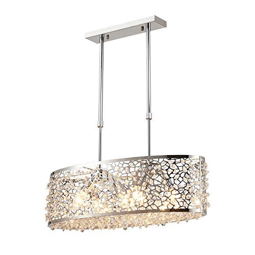 Saint Mossi Modern K9 Crystal Oval Chandelier Lighting Flush Mount LED Ceiling Light Fixture Pendant Lamp for Dining Room Bathroom Bedroom Livingroom 6 E12 Bulbs Required H10in x W7in x L24in For Sale