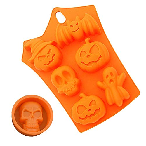 Orgrimmar Halloween Silicone Backing Mold BPA Free Cupcake Liner Bat Pumpkin Face Skull Ghost Shaped Fondant Cake Pudding Chocolate Jelly Ice Cube Tray Heat Resistant Cookie Soap Molds]()