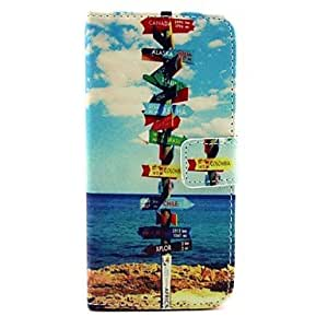 The Seaside Guide Pattern PU Leather Cover with Stand for iPhone 6