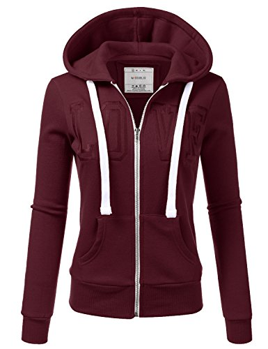 Hoody Maroon Sweatshirt (Doublju Lightweight Thin Zip-up Hoodie Jacket for Women with Plus Size Maroon Medium)