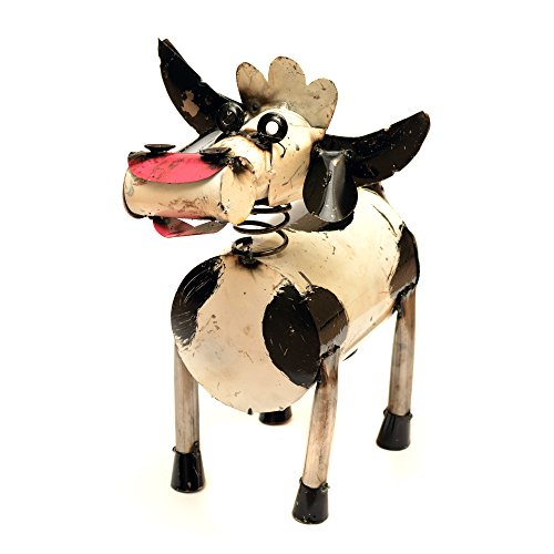 Rustic Arrow Spring Neck Cow for Decor, 10 by 5 by 9-Inch, Black and White