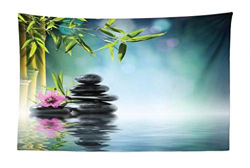 Ambesonne Spa Tapestry, Tower Stone and Hibiscus with Bamboo on The Water Blurry Background, Fabric Wall Hanging Decor for Bedroom Living Room Dorm, 45 W X 30 L inches, Petrol Blue Fuchsia Lime Green
