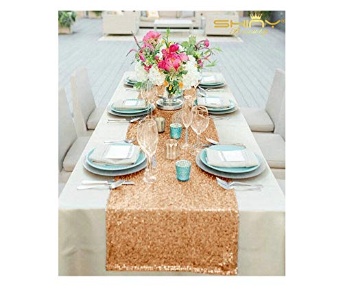 - 12''x72'' Rose Gold Sequin Table Runner Sparkly Metallic Sequin Runner for Wedding Party Dinner Reception, Event Bridalwedding Runner, Birthday Party, Dinner Party, Shower Ready to Ship!