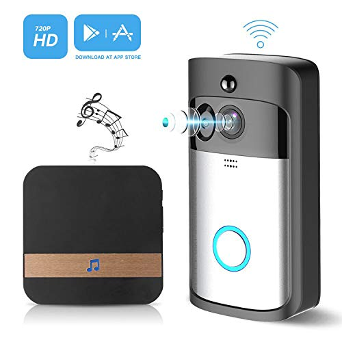 Video Wireless Doorbell Camera WiFi Doorbell GJT 720P HD Home Security Camera with Chime 166° Wide Angle Real-Time Two-Way Audio Night Vision PIR Motion Detection App Control for iOS and Android