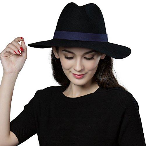 2811cdc056e SIGGI Womens 100% Wool Felt Fedora Hat Wide Brim Classic Pork Pie Hat Colors