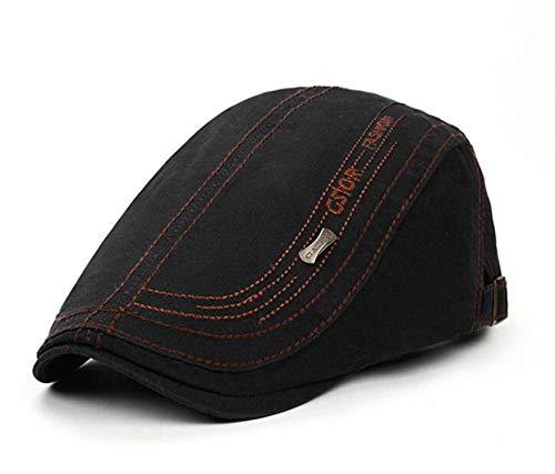 UKURO Retro Flat Ivy Cap Chapeau Homme-Men Women Cotton Newsboy Berets Hat Sombrero Hombre Spring Autumn Black