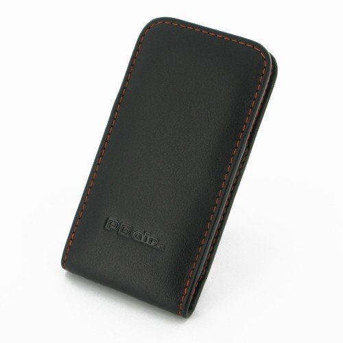 iPhone5 leather case - Vertical Pouch Type (NO Belt Clip) by PDair (Black / Orange Stitchings)