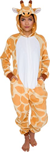 Silver Lilly Slim Fit Animal Pajamas - Adult One Piece Cosplay Giraffe Costume (Orange/White, -