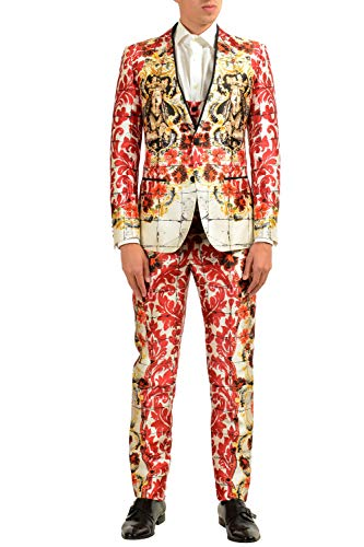 Dolce & Gabbana Men's 100% Silk Graphic Three Piece Suit US 36 IT 46 Dolce And Gabbana Mens Suits