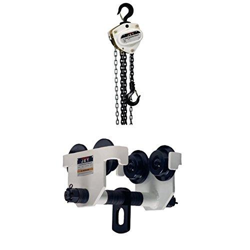 JET L100-100-15 1-Ton 15-Feet Lift Hoist with 1-HDT, 1-Ton Manual Trolley -