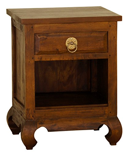 - NES Furniture aba10294 Shanghai Nightstand Fine Handcrafted Solid Mahogany Wood 26 inches Pecan