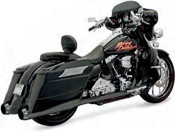 Cap End Muffler (06-16 HARLEY FLHX2: Bassani Xhaust +P Bagger Stepped True-Duals Exhaust With Power Curve (Black With Black End Caps And Contrasting Flutes / B1-Style Muffler))