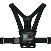 Black, Fully Adjustable Chest Strap Mount With Screw Adaptor Compatible with the GoPro HERO6 Black | HERO5 Black | HERO5 Session Action Camera - by DURAGADGET